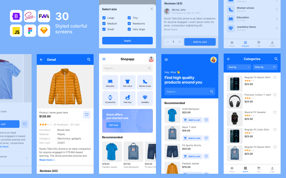 Ecommerce mobile app html template